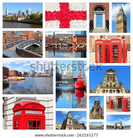 England, United Kingdom places photo collage. Collage includes major cities like London, Birmingham, Manchester, Liverpool and Bolton. - stock photo