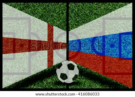 England vs Russia football flag background on green pitch 2016 - stock photo