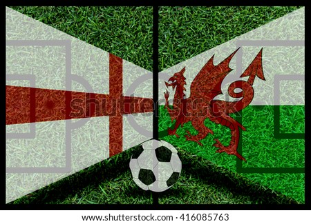 England vs Wales football flag background on green pitch 2016 - stock photo