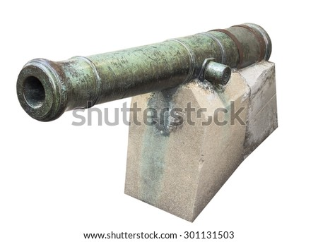 English age-old ship cannon - stock photo
