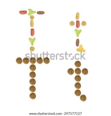 English alphabet ABC of dry cat and dog food, isolated on white  - stock photo