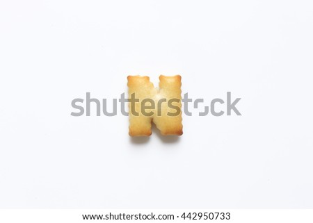 English alphabet made from bread.Letters of the British alphabet made of gingerbread. The letter n - stock photo