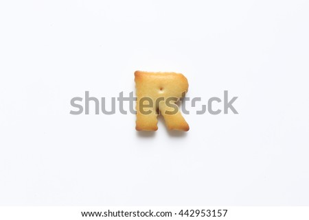 English alphabet made from bread.Letters of the British alphabet made of gingerbread. The letter r - stock photo