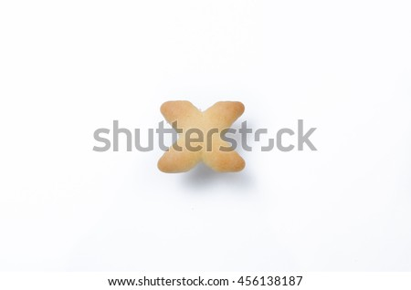 English alphabet made from bread. Letters of the British alphabet made of gingerbread. The letter X - stock photo