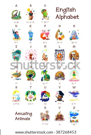 English Alphabet series of Amusing Animals. All 26 letters in one Poster file. Woodland Animals. Cartoon illustration Animals for letters. A B C D E F J H I G K L M N O P Q R S T U V W X Y Z   - stock photo
