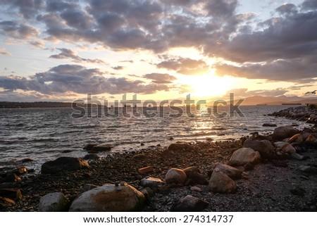 English Bay Sunset - stock photo