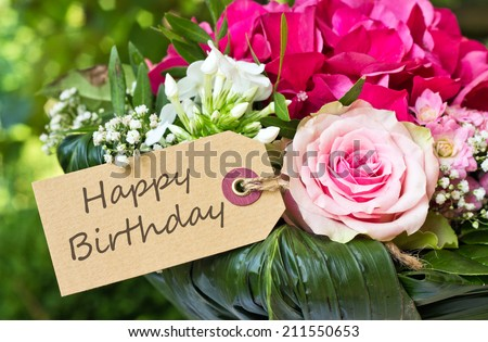 english birthday card with pink flowers/Happy Birthday/english - stock photo