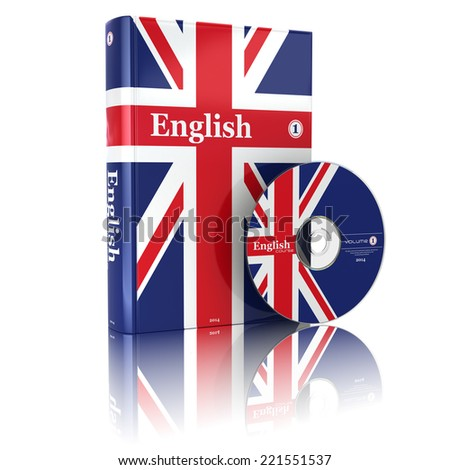English book  in national flag cover and CD. 3d - stock photo