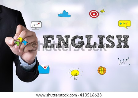 ENGLISH ( British England Language Education ) and Businessman drawing Landing Page on blackboard - stock photo