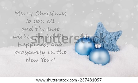english Christmas card with blue christmas star/Best wishes for Christmas and a happy New Year/english  - stock photo