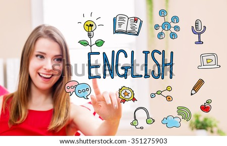 English concept with young woman in her home  - stock photo