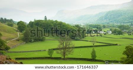 English countryside in spring, Lake District, Cumbria, UK - stock photo