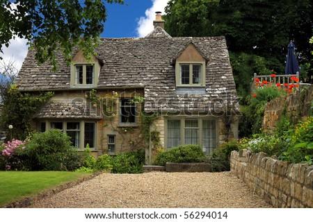 English countryside, quaint cottages - stock photo