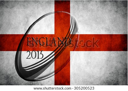 English flag embossed with a rugby ball and the words England 2015  - stock photo