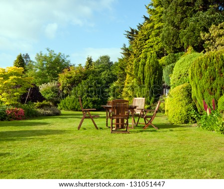 English Garden in late summer - stock photo