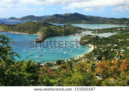 English Harbor in Antigua, view from the Shirley Heights - stock photo