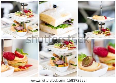 English high tea set - stock photo