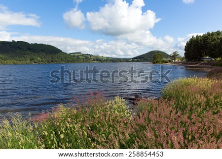 English Lake District Ullswater Cumbria England UK with blue sky on a summer day - stock photo