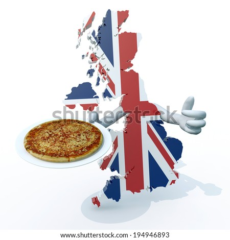 English map cartoon with arms and pizza on dish - stock photo