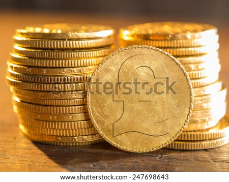 English pound gold coin - stock photo