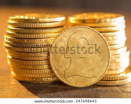 English pound gold coin - stock photo