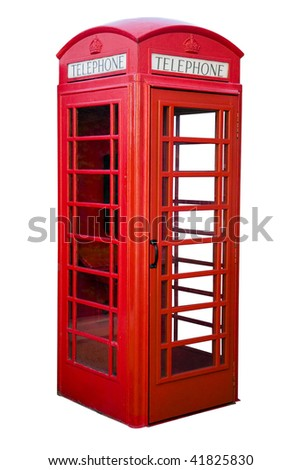 English red phone box isolated on white - stock photo