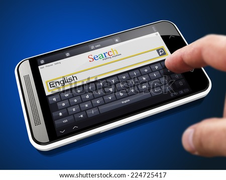 English - Request in Search String. Finger Pressing the Button on Modern Smartphone on Blue Background. - stock photo