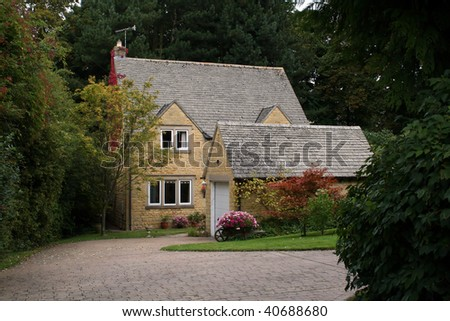 English Sandstone House in the Cotswolds - stock photo
