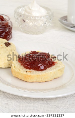 english scone with jam - stock photo