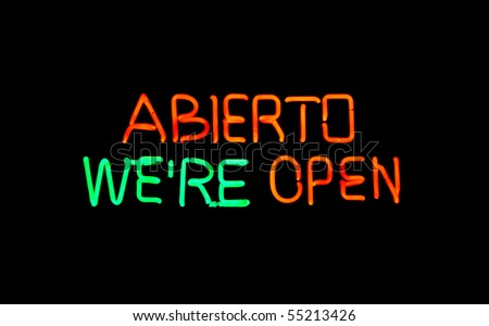 English-Spanish open neon sign - stock photo