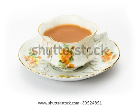 English tea served in an ornate china cup - stock photo