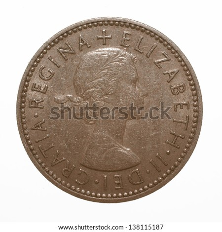 English three lions passant coat of arms 1955 Elizabeth II One Shilling Coin - stock photo