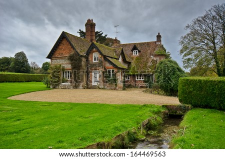 English Village Cottage - stock photo