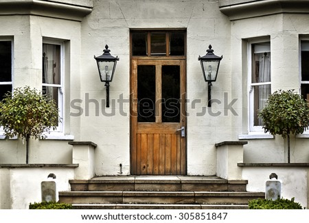 English Village Cottage house entrance - stock photo