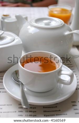 English white tea service, morning, breakfast - stock photo