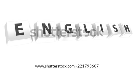 ENGLISH written in black on white computer keys. 3d illustration. Isolated background. - stock photo