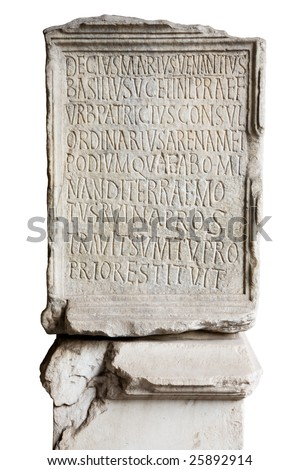 Engraved stone in Coliseum with latin letters - stock photo