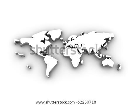 Engraved world map isolated on white - stock photo