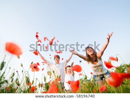 enjoing nature together - stock photo