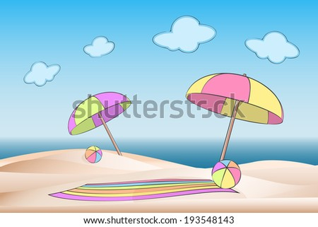 Enjoy the summer on the beach. Scenery in pastel colors with parasol, beach ball and towel on coastal dunes, illustration - stock photo