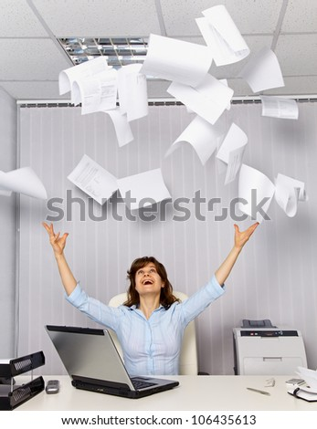 Enjoy working in the office - office business scene - stock photo