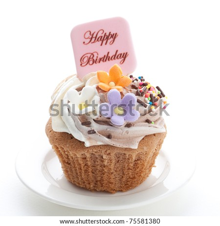 Enjoy your birthday party with colorful birthday's cupcake - stock photo