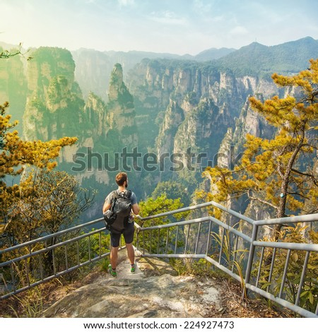 enjoying a gorgeous view - stock photo