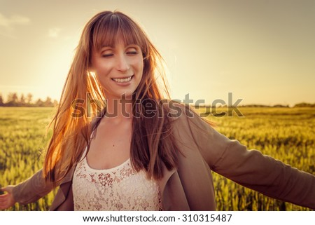 enjoying freetime dancing outdoors - stock photo