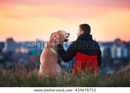 Enjoying sun. Man is caressing yellow labrador retriever. Young man sitting on the hill with his dog. Amazing sunrise in the city. Prague in Czech Republic. - stock photo