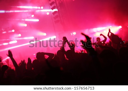 Enjoying the music - stock photo