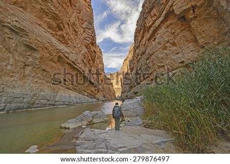 Enjoying the View of Santa Elena Canyon in Big Bend National Park in Texas - stock photo
