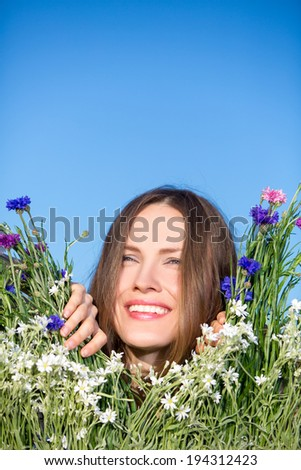Enjoyment. Free happy woman enjoying nature. Beauty girl outdoor. Freedom concept - stock photo
