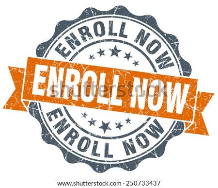 enroll now orange vintage seal isolated on white - stock photo