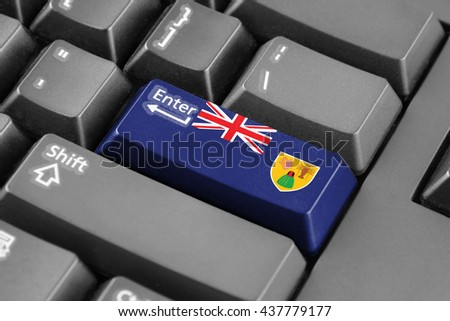 Enter button with Flag of Turks and Caicos Islands - stock photo